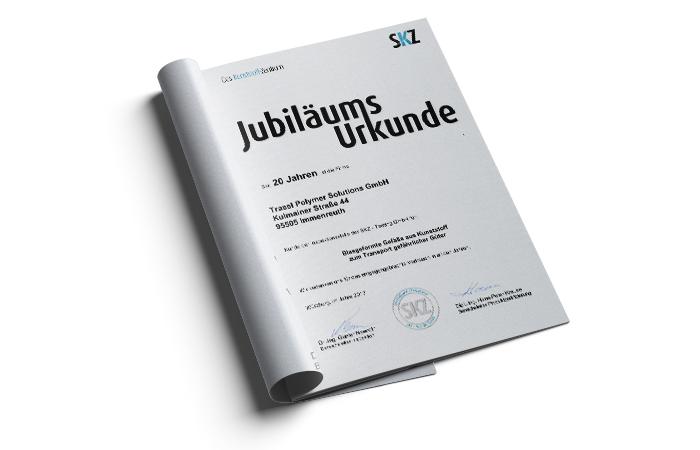 Jubilaeumsurkunde Trassl Polymer